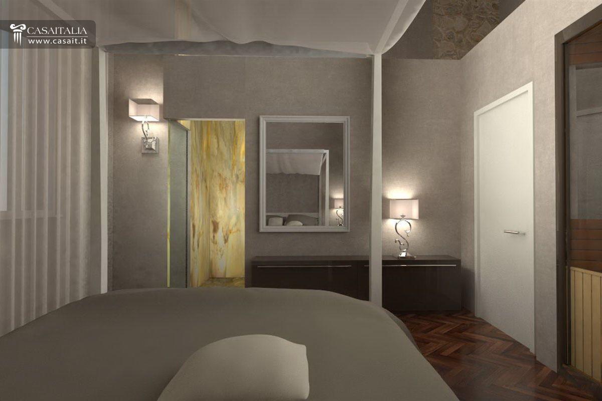 Bagno In Camera Con Vetrata : Appartamento con balcone in vendita nel centro di spoleto