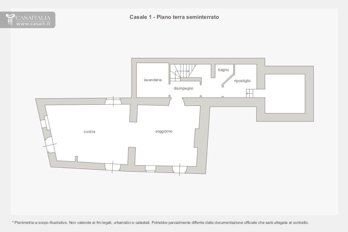 Casale con dependance e piscina in vendita a trevi for Idee piano terra seminterrato