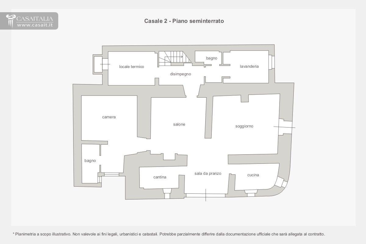 Casale con dependance e piscina in vendita a trevi for Planimetrie seminterrato