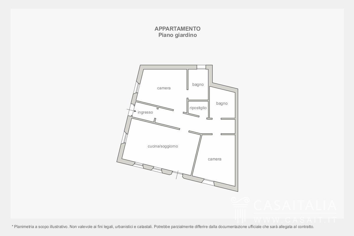 Appartamento con giardino in vendita in alta badia for Planimetrie a un piano con due master suite
