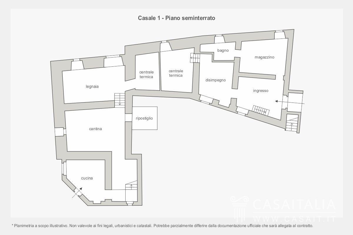 Borgo con casali annessi e 50 ettari di terreno in for Piano seminterrato